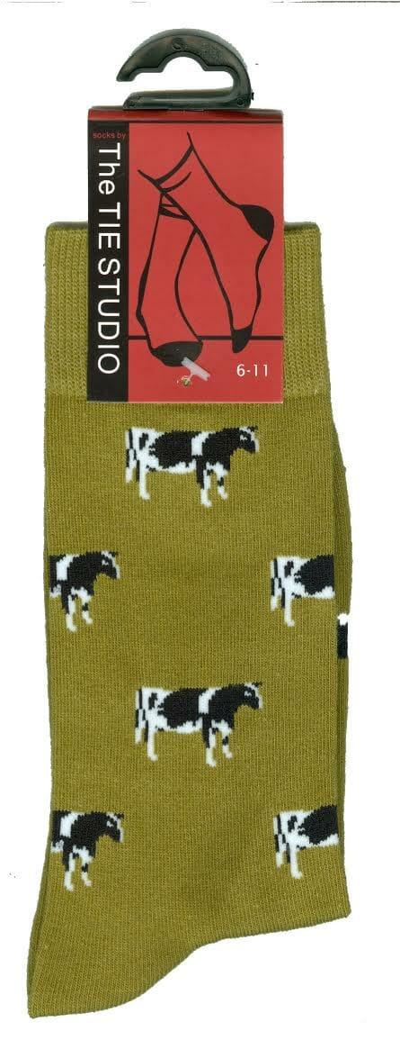 Dairy Cow Socks On Green