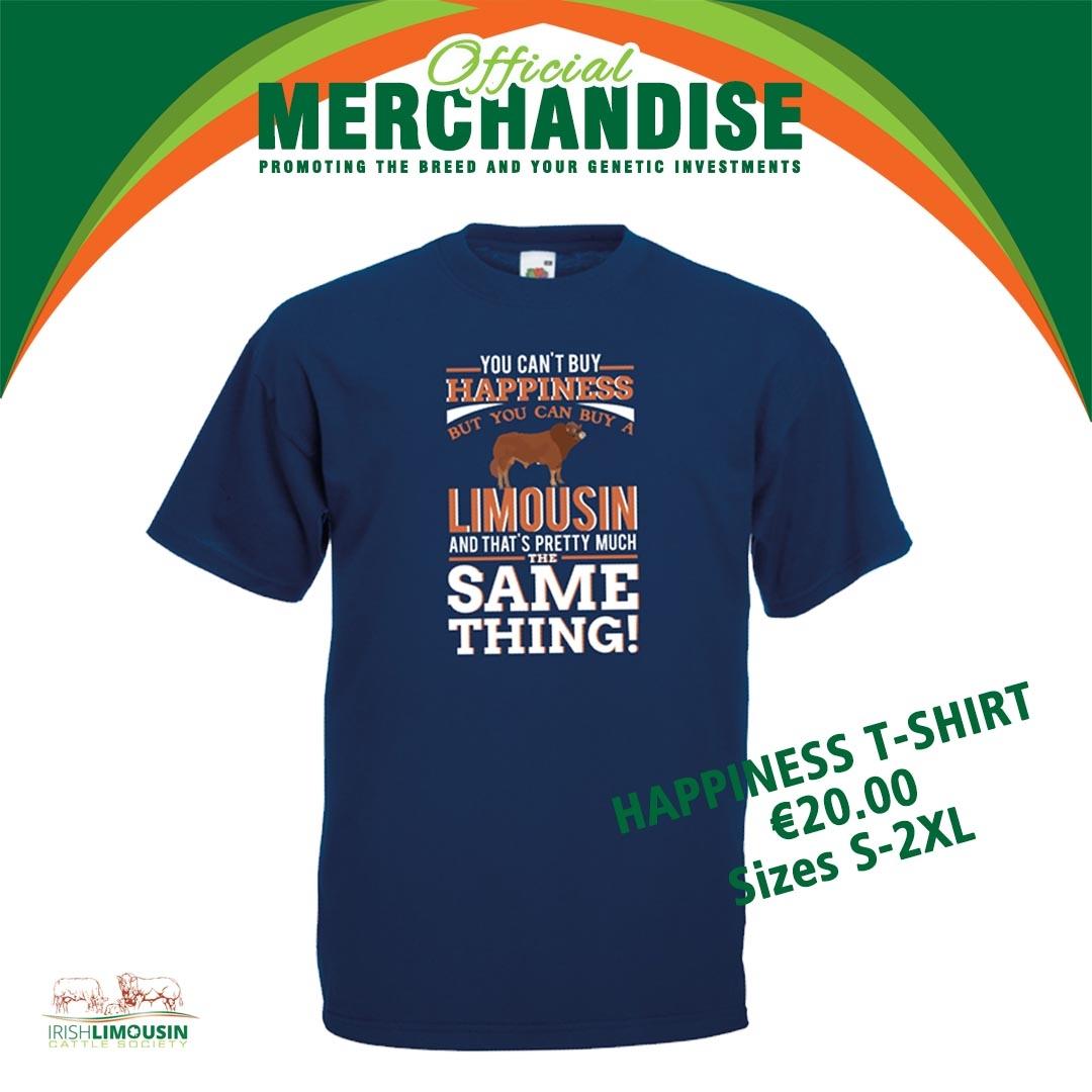 Irish Limousin Cattle Society Happiness T-Shirt