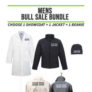Mens Bull Sale Bundle – INCLUDES SAME FRONT EMBROIDERY LOGO 3 ITEMS & BACK TEXT ONLY