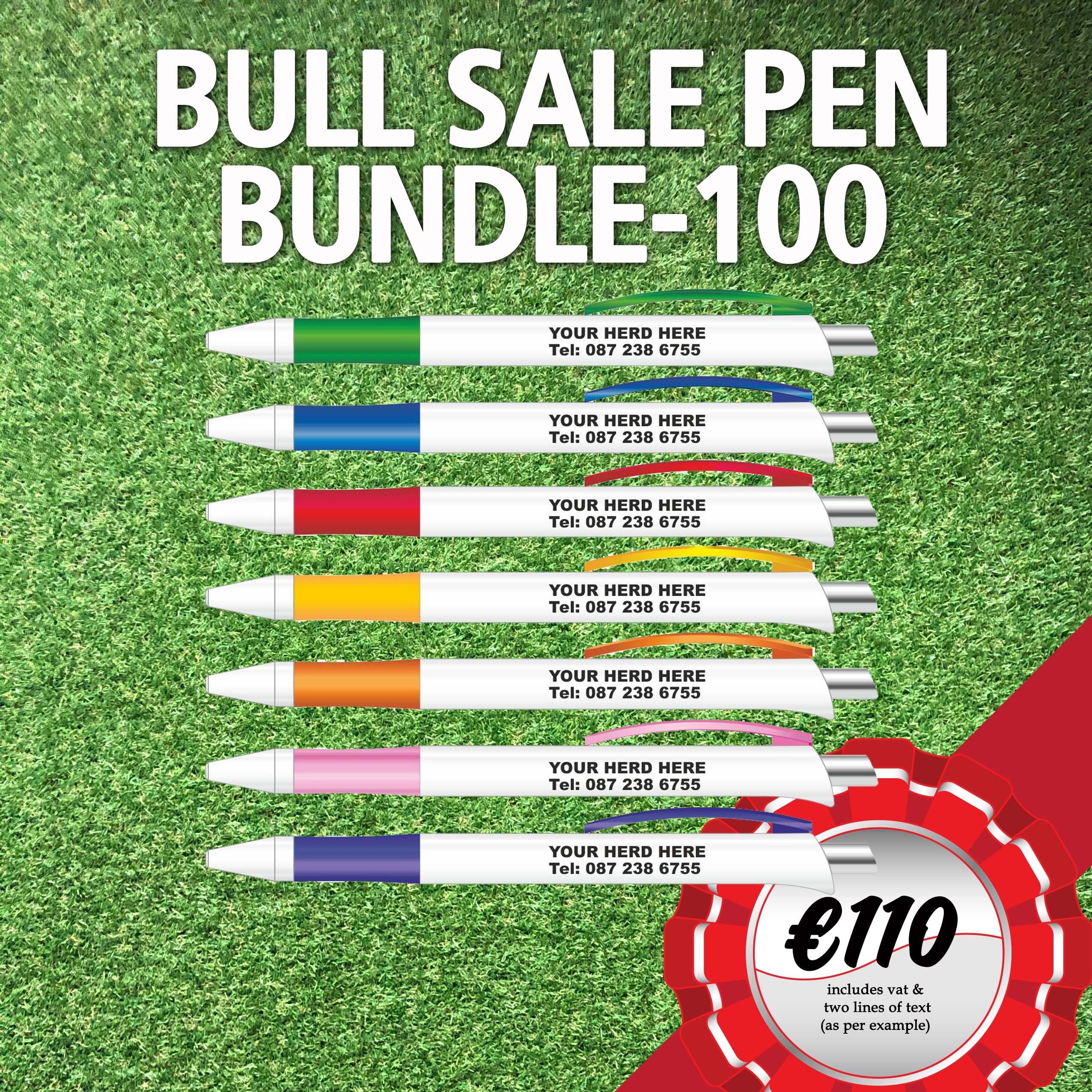 Bull Sale Bundle – 100 Pens with your Herd Name & Contact Number