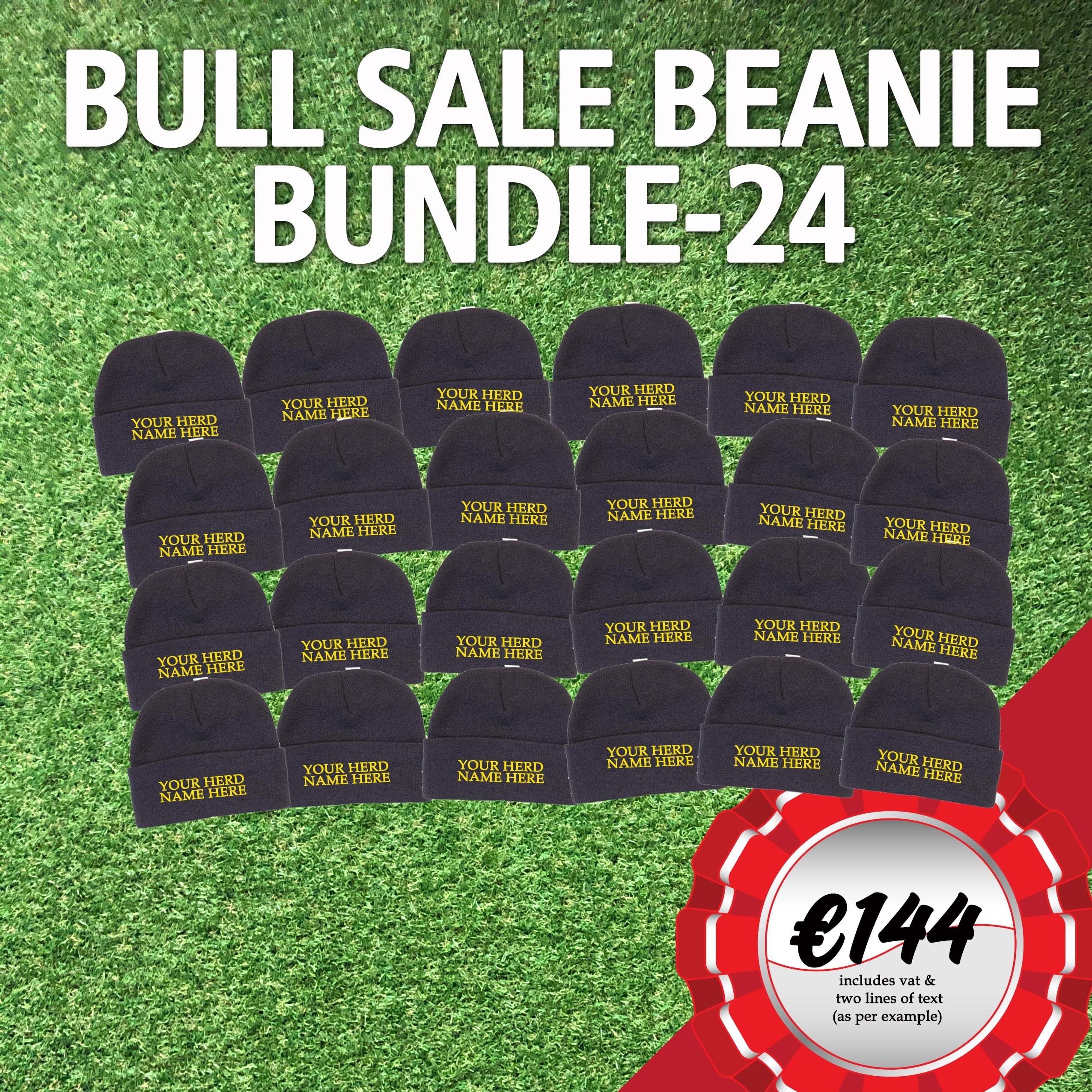 Bull Sale Bundle – 24 Beanies with your Herd Name