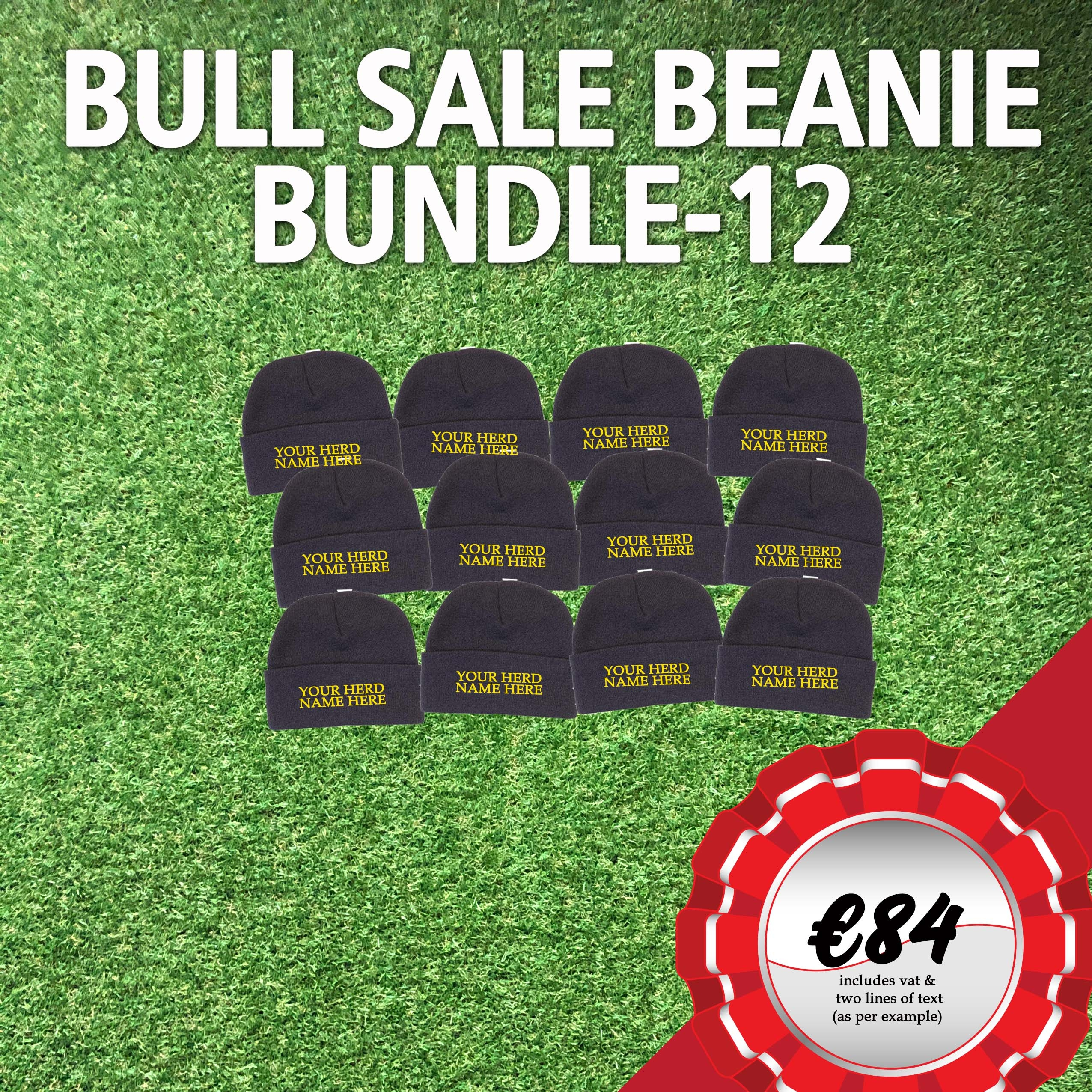 Bull Sale Bundle – 12 Beanies with your Herd Name