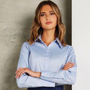 Kustom Kit Ladies Oxford Long Sleeve Shirt
