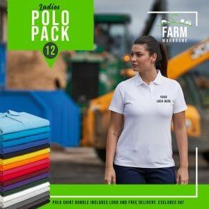 Ladies Polo Shirt Bundle Qty 12 – Includes Front Logo & Free Delivery – Includes VAT