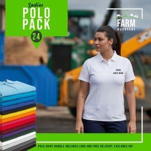 Ladies Polo Shirt Bundle Qty 24 – Includes Front Logo & Free Delivery – Includes VAT